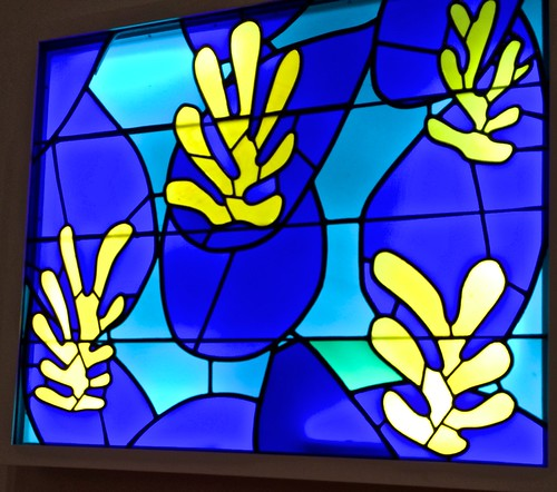Stained glass windows for a chapel made from cut out paper design of Matisse, Museum of Modern Art, New York City,