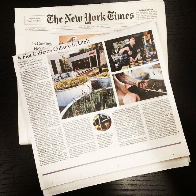 caffe d'bolla in New York Times travel section this past Sunday the 16th.  Thank you @lucyburningham and @cayceclifford ! #caffedbolla #slc #coffee