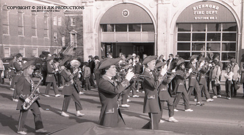 Tri-X Files 84_31.14a: MHS Band in front of the Fire Station (1/5)