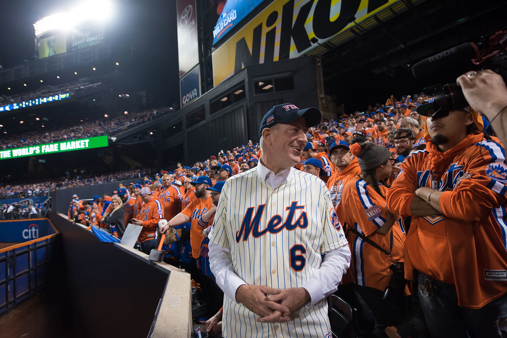 Mayor Bill De Blasio Attends The Major League Baseball Nat