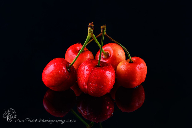 Cherries on black with reflections (Explore 26/10/2016)