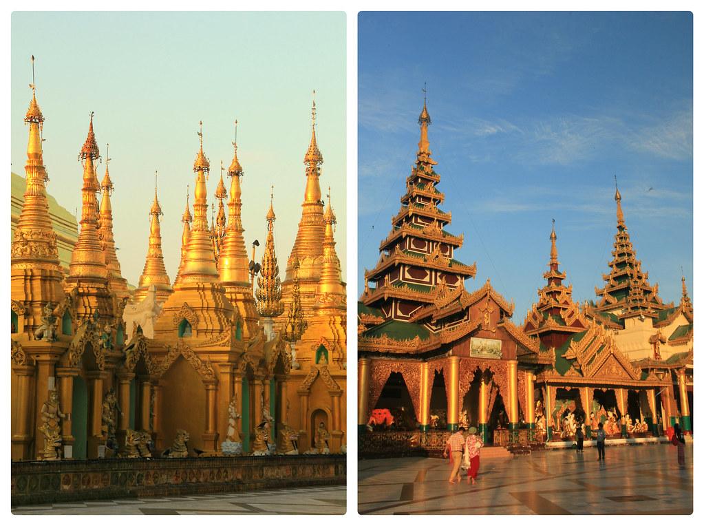 Temple grounds at sunrise, Shwedagon Pagoda