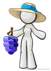 White Character Woman Grapes Hat
