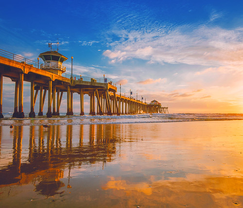 ocean california sunset reflection beach clouds pier sand nikon waves nirvana orangecounty huntingtonbeach hb goldenhour d800 hbpier meeyak