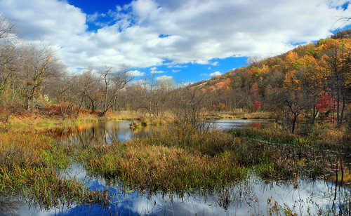 autumn trees sky mountains nature clouds landscape pond hiking pennsylvania hills creativecommons wetland bluemountain appalachianmountains stratocumulus kittatinnymountain carboncounty lehighgap lehighgapnaturecenter