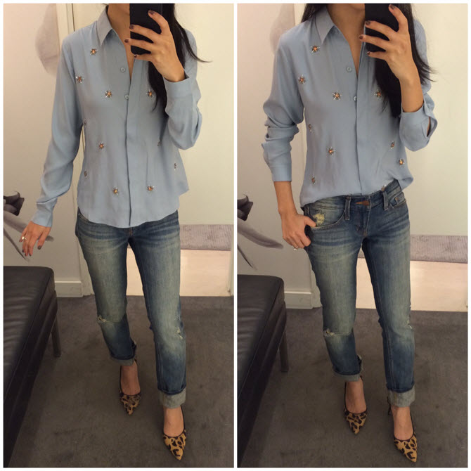 ann taylor crepe jeweled shirt