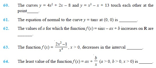 Class 12 Important Questions for Maths - Application of Derivatives