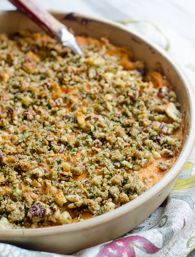 Bourbon Sweet Potato and Apple Casserole with a Pecan Crust