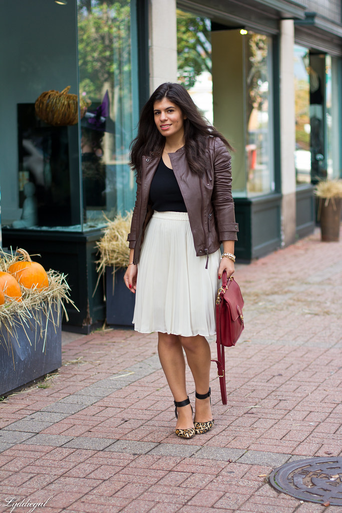 pleated skirt, leather jacket, leopard pumps.jpg