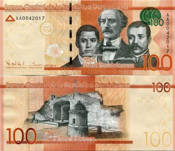 100 Pesos Oro Dominikánska Republika 2014