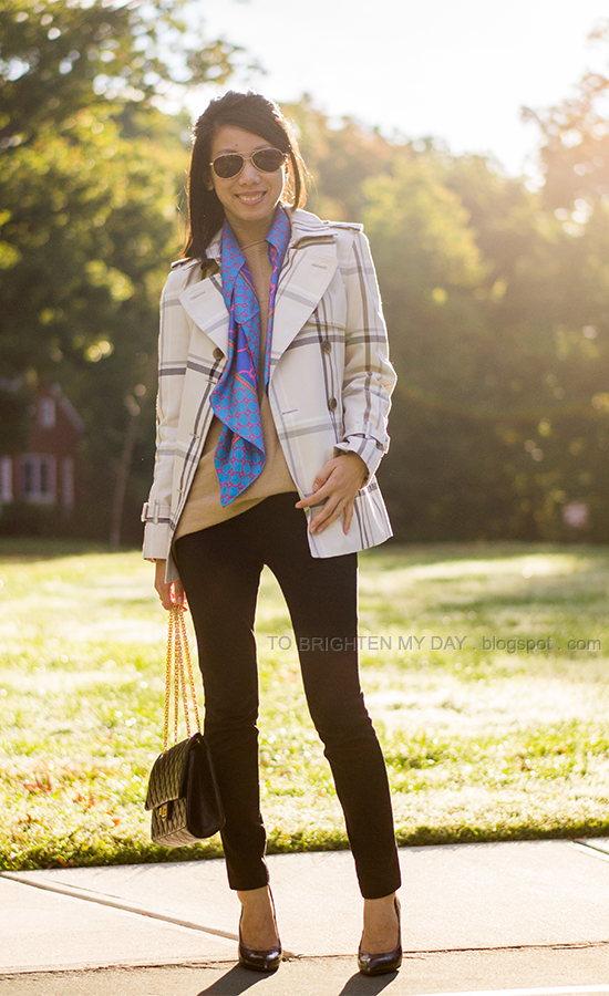 plaid patterned trench, camel sweater, blue chain scarf, wooden heeled pumps