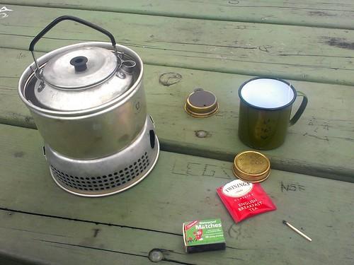 Teaneurring station. Trangia 27 stormcooker set. Twining's English Breakfast tea.