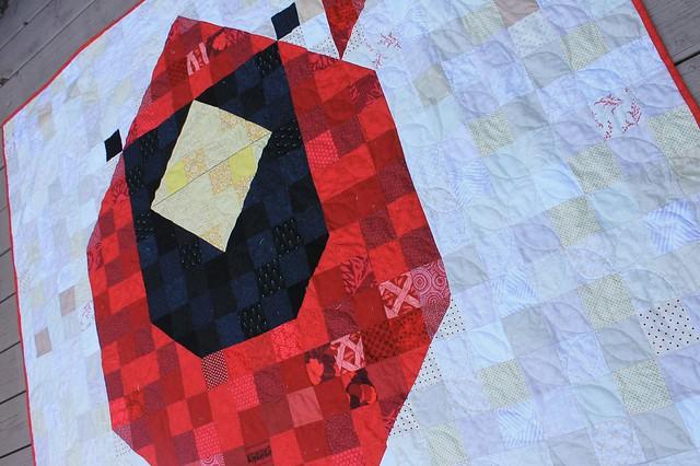 Charley Harper Cardinal Mosaic Quilt
