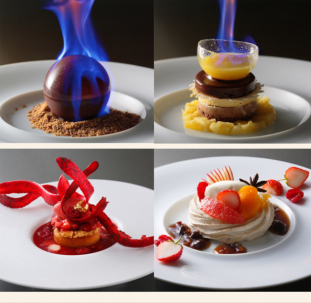 plated desserts collage