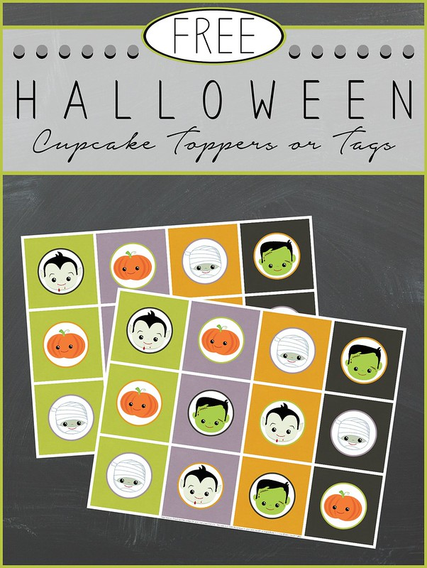 2014 Halloween Cupcake Toppers or Tags collage