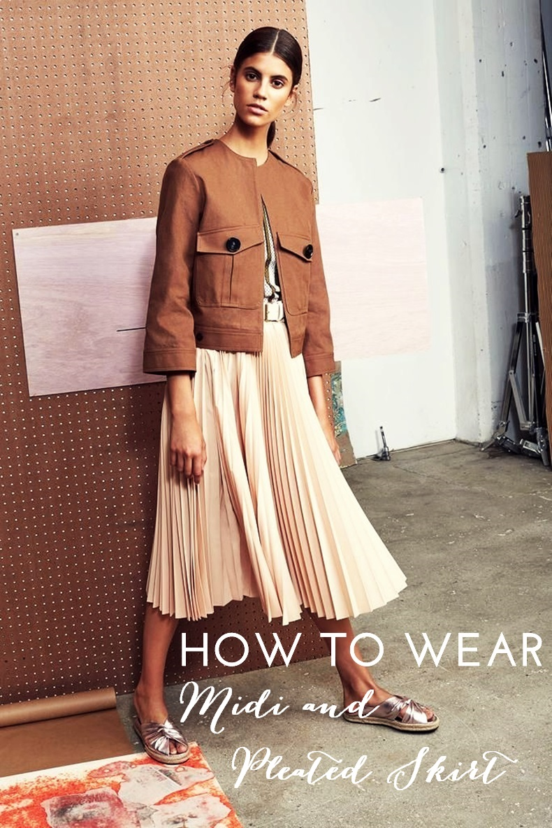 how to wear midi and pleated skirt