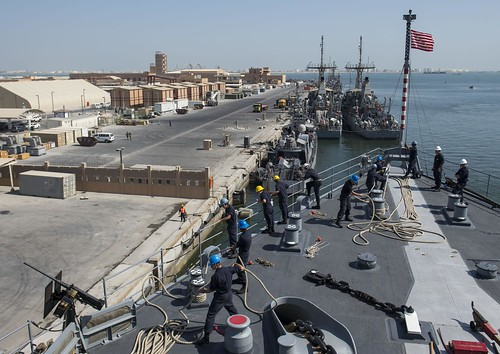 USS Comstock Departs Bahrain
