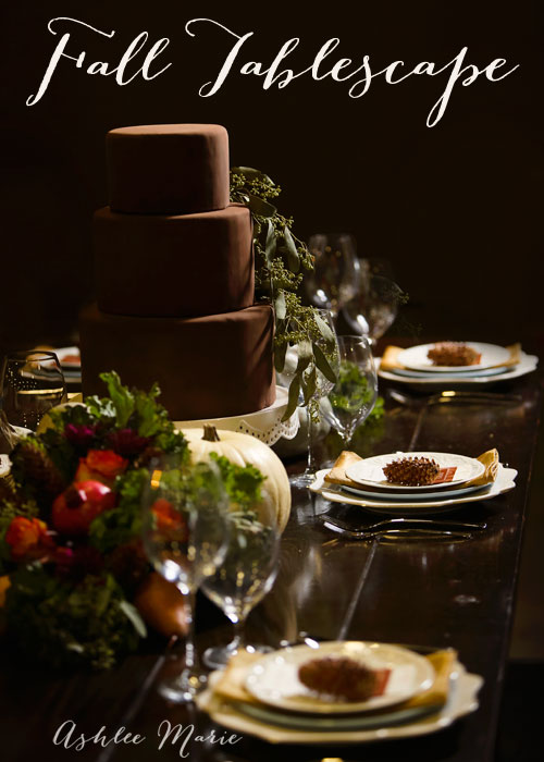 a beautiful fall table, that can be used for thanksgiving or any fall dinner.  Using edible fall foods in the centerpieces
