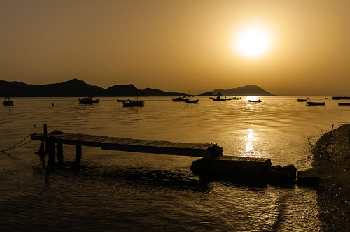 travel sunset seascape harbour greece milos egeo kilma