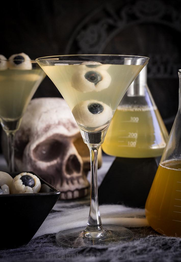 Creepy Eyeball Martini Lychee Matcha And Blood Orange Martini-5583