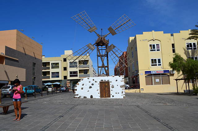 Windmill, old town, Corralejo, Fuerteventura, Canary Islands