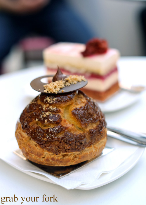 Caramel, chocolate and hazelnut choux at Burch & Purchese, South Yarra