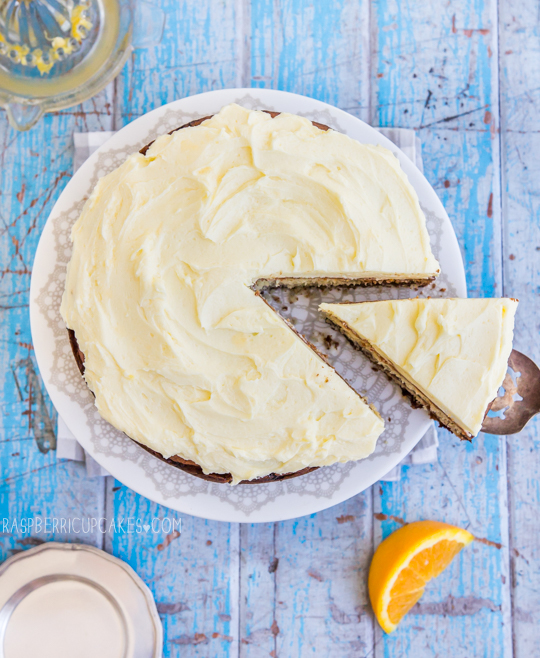 Chocolate Chip Buttermilk Cake with Orange Icing-3