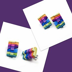 polymer clay Watercolor Rainbow Post Earrings
