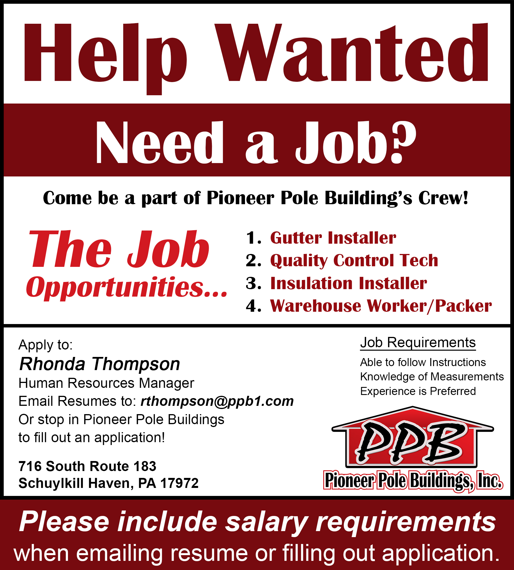 Employment Opportunities at Pioneer Pole Buildings Inc