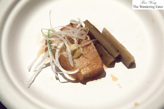 "Braised pork belly ""kakuni"" with karashi mustard by Ganso Ramen"
