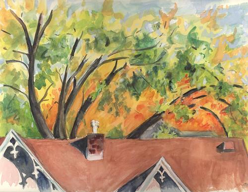 autumn watercolor gouache urbanlandscape cedarfallsiowa marciamilnerbrage