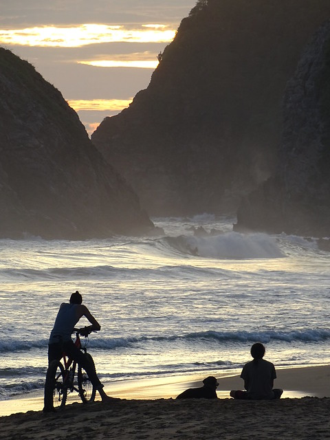 Beach Scene at Sunset - Zipolite - Oaxaca - Mexico