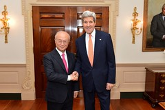 U.S. Secretary of State John Kerry poses for a photo with Director General of the International Atomic Energy Agency Yukiya Amano before their bilateral meeting at the U.S. Department of State in Washington, D.C., on October 30, 2014. [State Department photo/ Public Domain]