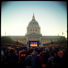Watching the World Series in SF.