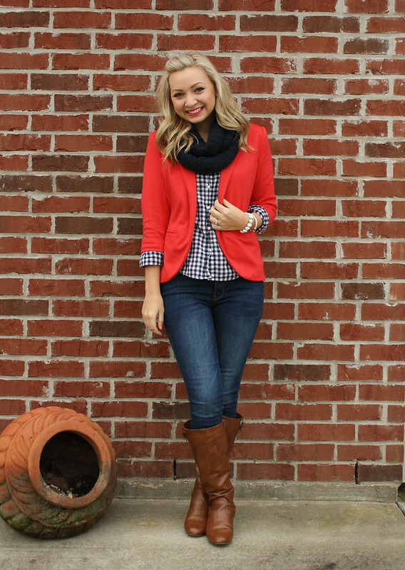 coral blazer and navy gingham