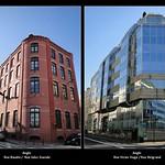 Levallois-Perret. Contrastes architecturaux. Angles de rues - Immeubles.