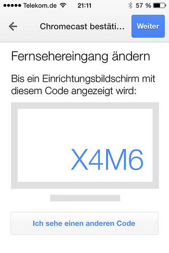 13 - Google Chromecast - Code auf iPhone