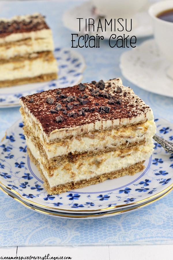 No Bake Tiramisu Eclair Cake