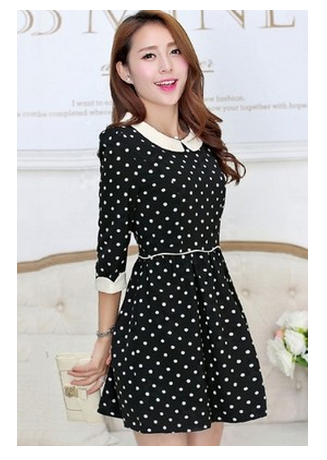 polka dot collar dress