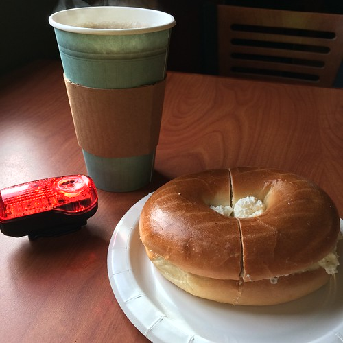 Coffee, bagel, taillight, Truro
