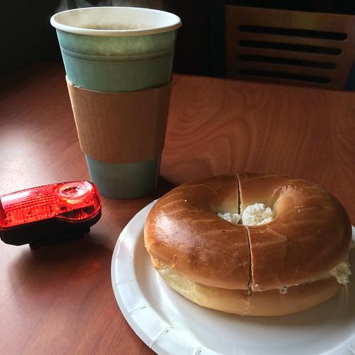 Coffee, bagel, taillight, Truro