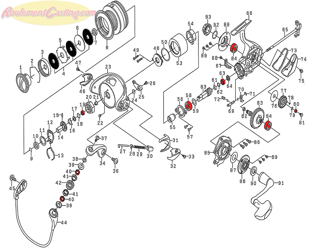 Schéma Daiwa Certate 3012H Hi Gear Custom