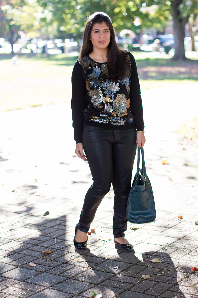 Sequined Floral Sweater, Black Coated Denim.jpg