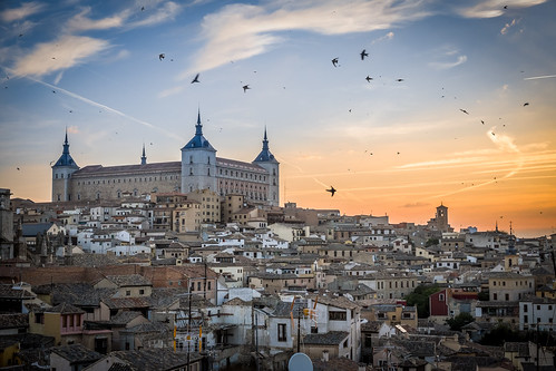 city houses castle birds sunrise spain toledo alcazar