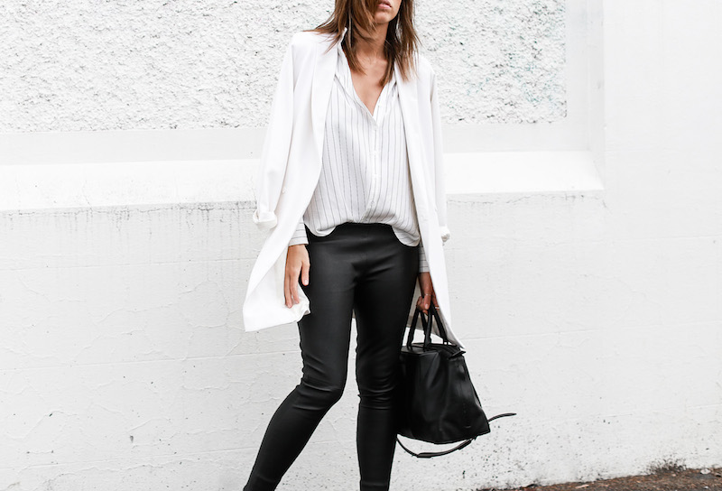 MODERN LEGACY fashion blog pinstripe shirt leather leggings Helmut Lang oxfords Alexander Wang bag black and white street style (5 of 6)