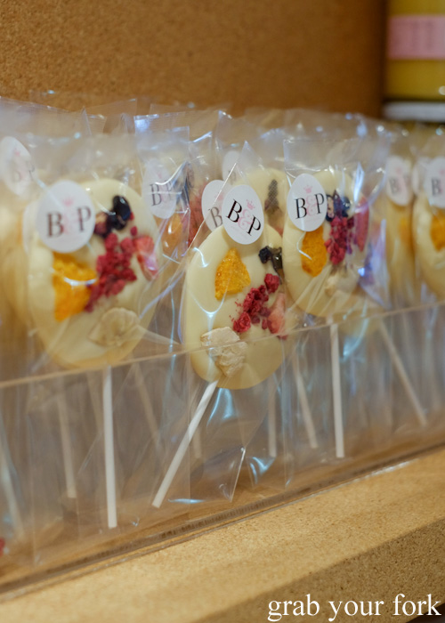Belgian white chocolate lollipops at Burch & Purchese, South Yarra