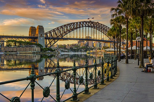 city travel sunset reflection fun reisen nikon cityscape harbour sydney bridges australia newsouthwales sydneyharbour digitalenhancement nikond7000