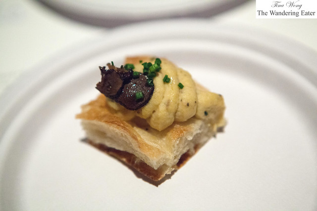 Truffle hummus on flatbread with chives by Claudette