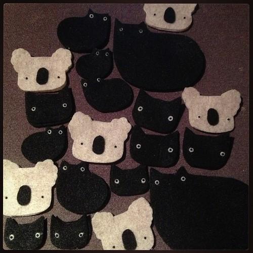 Currently: koalas + black cats. #migrationgoods #wip #koala #kitteh #cat
