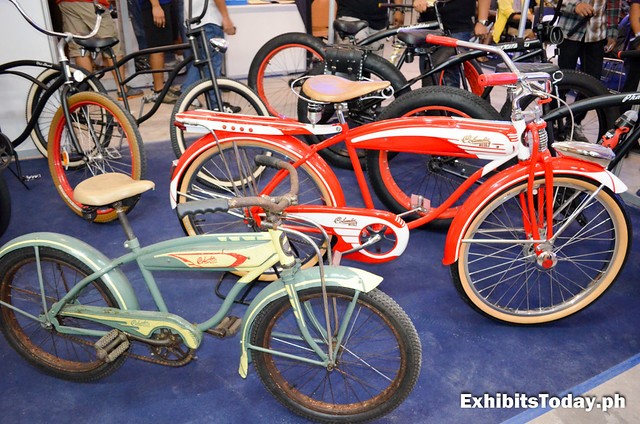 Red and Blue Vintage Bicycle Models
